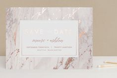 """""""Marble Matrimony"""" - Elegant, Formal Foil-pressed Save The Date Cards in White by AK Graphics."""