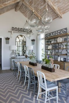 farmhouse coastal dining room with whitewashed ceiling planks jar pendant lights and farmhouse table - Modern Dining Room Pendant Lighting