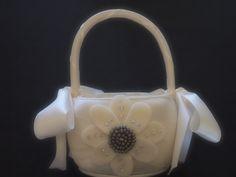 Flower Girl Basket Wedding Bridal Ivory Gray by ArtisanFeltStudio on Etsy