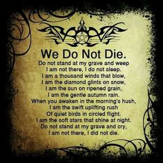 We do not die.