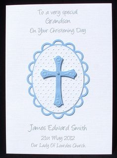 Handmade card personalised card by CreativeCardsByKaz on Etsy Confirmation Cards, Baptism Cards, Christening Card, Christian Cards, Communion, I Card, Your Cards, Holiday Cards, Card Making