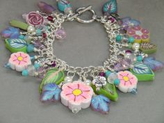 Pink blue and green flower and leaf cha cha by wilywolverine, $58.95