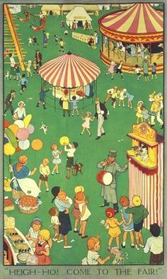 """""""Heigh-ho! Come to the fair!"""" Children at a Country Fair, illustration by Nina K. Brisley (Print On Demand)"""