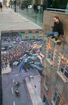 Batman to the Rescue        Street painting