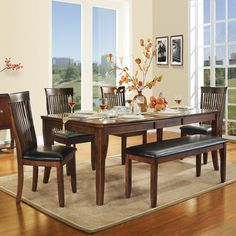Homelegance Alita 6-Piece Dining Table Set - Warm Cherry - 2477-78[6PC]