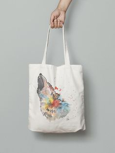 The wolf- handmade eco friendly handbag watercolor printed Watercolor Animals, Watercolor Print, Eco Friendly Bags, Hand Bags, Wolf, Tote Bag, Printed, Handmade, Hand Made