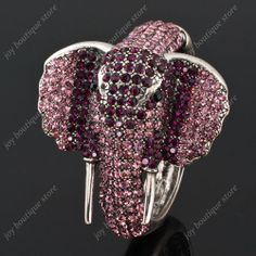Amethyst rhinestone crystal animal elephant bangle bracelet fashion jewelry cuff