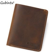 GUBINTU Vintage Men  Style Money Organizer Wallet Solid Color PU Leather Men Male Card Money Wallet men purse  male worldwide