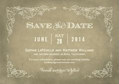 Elegant classic vintage save-the-date wedding invitations. Easy to customize!