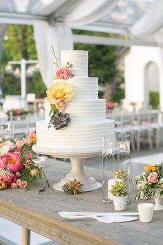 tree peony, ranunculus, and succulent wedding cake | Courtney Dox