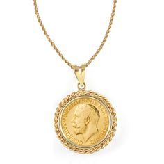 American Coin Treasures 14k Gold French King George V Gold Sovereign Coin Rope Bezel Pendant Necklace Review Buy Now