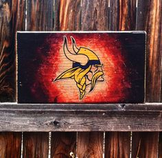 Minnesota Vikings Team Logo Wooden Wall by MegAndMosClubhouse