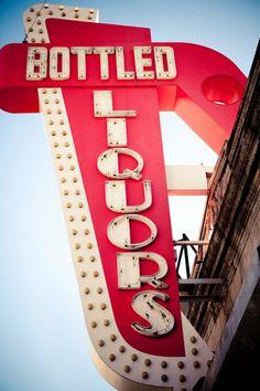 Vintage Bottled Liquors Neon Sign Retro by RetroRoadsidePhoto