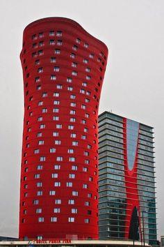 red hot:hotel porta fira, barcelona catalonia surrealist architecture/toyo ito via: alexandermetveyev