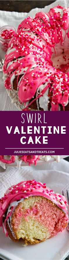 Swirl Valentine Cake ~ Super Easy Dessert Starts with a Boxed Cake Mix and Becomes the Perfect Easy Valentine's Day Dessert! More homemade and made from scratch recipes from @julieseats