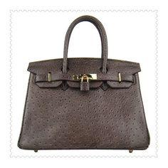 Hermes Birkin Handbag Ostrich Stripe Chocolate online -... via Polyvore