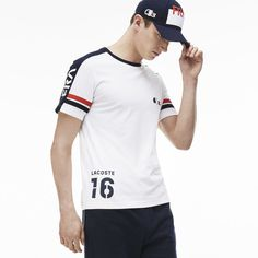 Lacoste SPORT SUPPORTER Edition crew neck t-shirt in technical jersey with contrasting accents Camisa Polo, Polo T Shirts, Sports Shirts, Lacoste Sport, Lacoste T Shirt, Graphic Shirts, Mens Sweatshirts, Neck T Shirt, Shirt Style