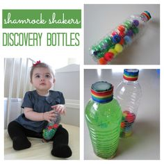 shamrock shakers- discovery bottles could be for any season/theme! Toddler Play, Baby Play, Toddler Preschool, Toddler Crafts, Infant Crafts, Toddler Books, Infant Toddler, Baby Sensory, Sensory Activities