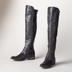 """SANDRINE BOOTS--Undeniably French, these chic boots define timeless elegance in supple leather with a stretch panel at back for the perfect, sleek fit. France. Exclusive. Euro whole sizes 36 to 41. 36 (US 6), 37 (US 7), 38 (US 8), 39 (US 9), 40 (US 10), 41 (US 11). 1-1/3"""" heel."""