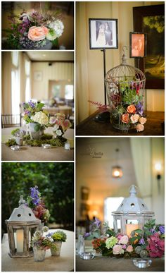 small potted plant centerpieces, birdcage centerpieces, rustic wedding receptions