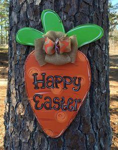 Easter door hanger Carrot door by Furnitureflipalabama on Etsy