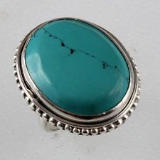 Sterling silver 925 oval shape turquoise ring, size 7.25 Lot 385