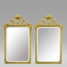 Pair Gilt Wood Gesso Louis XVI Style Beveled Mirrors Circa 1970s
