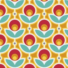 Tulips in Canary (Red, Aqua, Yellow) by Joel Dewberry - PWJD060 - Notting Hill Collection