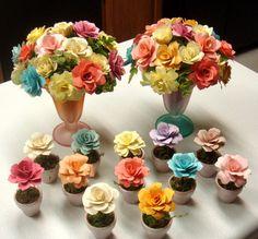 PAper Flowers in Painted Pots Wedding by SweetPeaPaperFlowers, $4.50