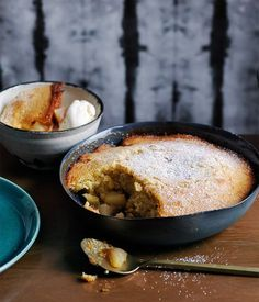 A simple sponge top - with the added warmth of wild ginger - gives way to a steaming filling of soft pears.
