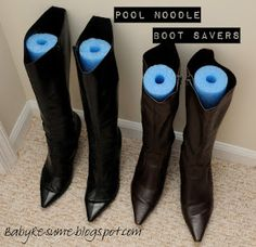 Pool Noodle Boot Savers...now I have to get busy and organize my closet!!