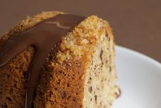 Hazelnut Cake. Made with unblanched hazelnuts, butter, sugar, eggs, flour, baking powder, bittersweet chocolate, and milk.
