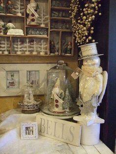 Snowman, Silver Bells Sign, Santas under glass bells.  10382622_360780017436083_4816964892781099707_n.jpg (JPEG Image, 480×640 pixels) - Scaled (99%)