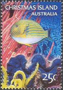 Striped Fish. Stamp printed in Christmas Island, Australia circa 2004