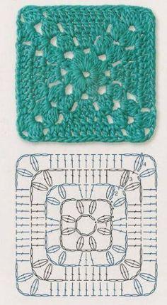 Transcendent Crochet a Solid Granny Square Ideas. Inconceivable Crochet a Solid Granny Square Ideas. Crochet Motif Patterns, Crochet Blocks, Granny Square Crochet Pattern, Crochet Diagram, Crochet Squares, Crochet Chart, Free Crochet, Knitting Patterns, Motifs Granny Square