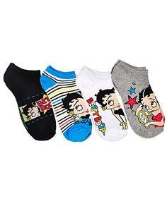 """Betty Boop """"Stars & Stripes"""" 4-Pack Mini Crew Socks (Sizes 9 - 11)"""