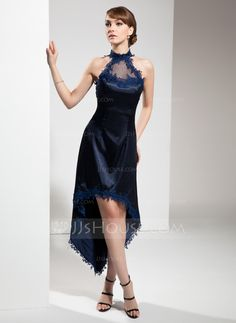 Cocktail Dresses - $136.99 - A-Line/Princess Halter Asymmetrical Tulle Charmeuse Cocktail Dress With Lace (016008531) http://jjshouse.com/A-Line-Princess-Halter-Asymmetrical-Tulle-Charmeuse-Cocktail-Dress-With-Lace-016008531-g8531?pos=related_products_3