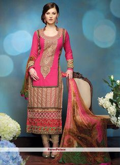 Pink Ankle Length Georgette Churidar Suit