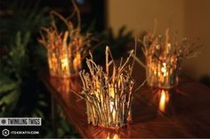Twinkling Twig Votives from It's Kriativ   Featured Fall Decorating Idea from Gooseberry Patch