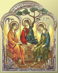 Trinity After Rubliov Painting - Trinity After Rubliov Fine Art Print