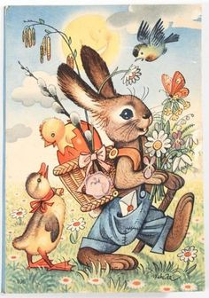 Vintage Easter Bunny is On His Way Card - vintage gifts retro ideas cyo Easter Art, Easter Crafts, Easter Bunny, Easter Eggs, Easter Ideas, Vintage Easter, Vintage Holiday, Vintage Gifts, Lapin Art