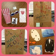 - Determine the main idea of a text; recount the key details and explain how they support the main idea. I will use these bags to introduce and model main idea. Students create own in groups or solo providing clues for others to guess their main idea. Reading Lessons, Reading Activities, Reading Skills, Teaching Reading, Classroom Activities, Classroom Ideas, Guided Reading, Main Idea Activities, Reading Tutoring