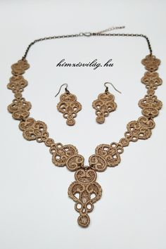 Imola csipke hímzett ékszer szett Crochet Necklace, Charmed, Bracelets, Jewelry, Crochet Collar, Bangle Bracelets, Jewellery Making, Jewerly, Jewelery