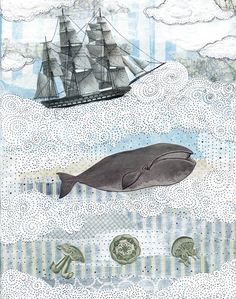 Whale Art. Whimsical Art. Collage Reproduction Print. 8 x 10 - The Ocean Blue. $20.00, via Etsy.