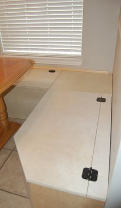 Banquette idea for window seat, cool idea to angle the outside corners