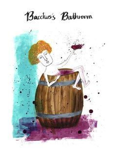 바쿠스의 사생활 ㅋㅋㅋㅋ  acrylic on paper  #와인 #wine #와인일러스트 #wineillust #mongcha #몽차 #바쿠스 #bacchus #acrylic #acrylic_on_paper #illistration #아크릴화