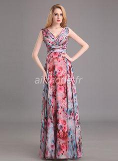 fournitures de airmode.frcharmant printing une ligne v cou lace jabot longue robe de bal Robes de Bal Longues (2)
