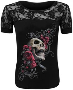 Tee Shirt Femme Spiral DARK WEAR - Skull Rose - http://rockagogo.com