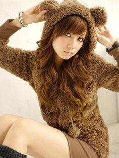 Brown Korean Fleece Hoodie Jacket With Cute Bear Ears. I so want this!
