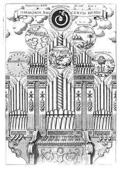 """Athanasius Kircher, Harmony of the birth of the world, represented by a cosmic organ, from """"Musurgia Universalis"""", Rome 1650."""